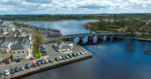 Aerial of Carrick on Shannon town Leitrim Ireland